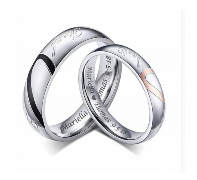 Personalized Stainless Steel Sweetheart Couple's Ring Set Custom Engraved Free, Promise Ring