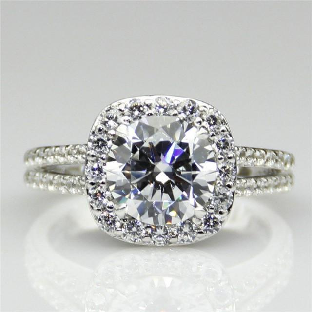 2ct Round Esdomera Moissanite Color F Halo Split Band Style 14k White Gold Wedding Engagament Ring (CFR0077-MS2CT)