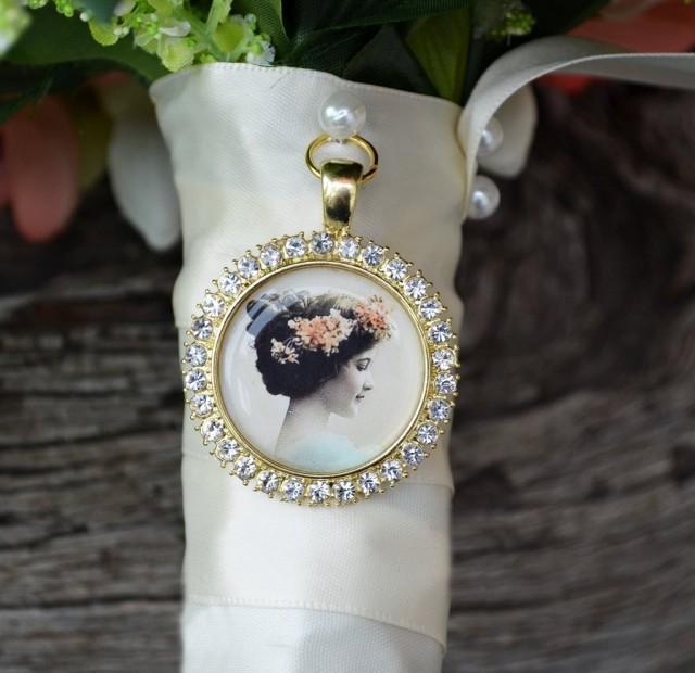 Bouquet Photo Charm Rhinestone Round Gold Wedding Bridal Memory Frame Bling