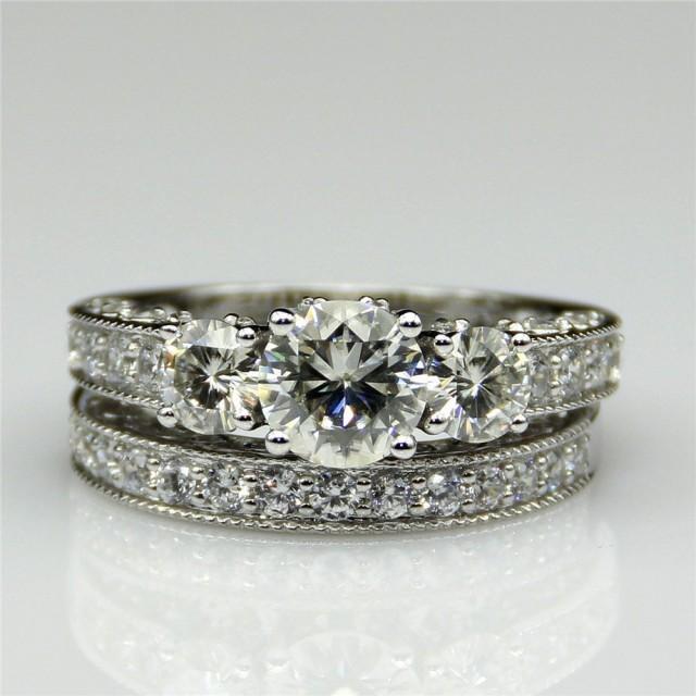 Round 1ct Esdomera Moissanite Vintage Style 3-stones 14k White Gold Wedding Bridal Set Engagament Ring Band (CFR0226WS-MS1CT)