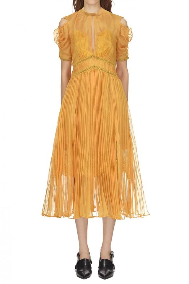 wedding photo - Self Portrait Mustard Pleated Chiffon Midi Dress