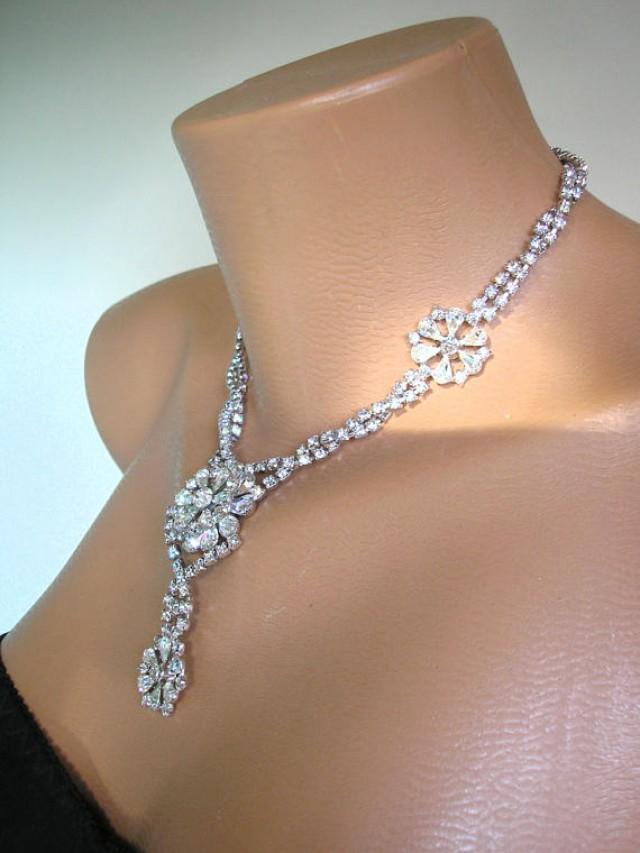 wedding photo - Crystal Bridal Necklace, Statement Necklace