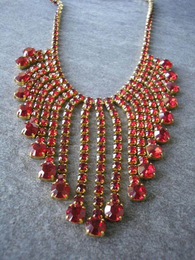 wedding photo - Red Rhinestone Necklace, Statement Necklace