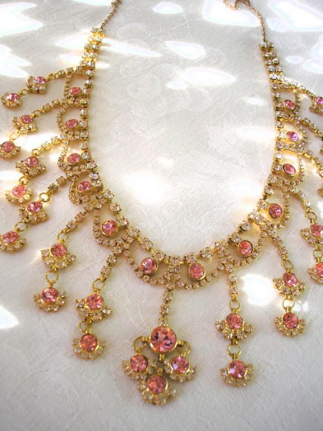 wedding photo - Pink Rhinestone Necklace