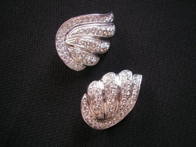wedding photo - Vintage CIRO Clip On Earrings, Diamante Pavé Earrings, Rhinestone Bridal Earrings, SIGNED Ciro Jewelry, Silver Crystal Clip Ons