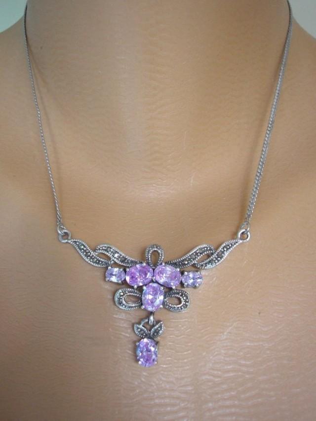 wedding photo - Marcasite Necklace, Amethyst Necklace, Necklaces for Women, Vintage Marcasite Jewelry, Marcasite Choker, Prom Jewelry, Nouveau/Deco Style