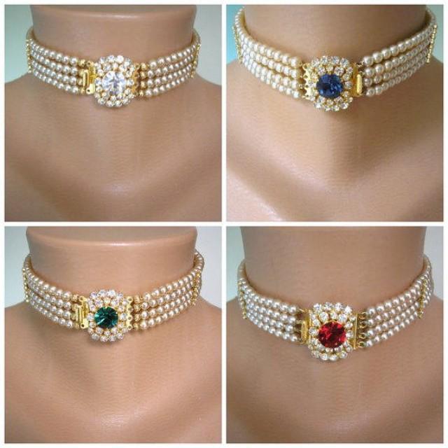 wedding photo - Pearl Bridal Choker, Indian Bridal Choker, Pearl Choker, Bridal Jewelry, Pearl Necklace, Sapphire, Emerald, Diamond, Ruby, Deco, Statement