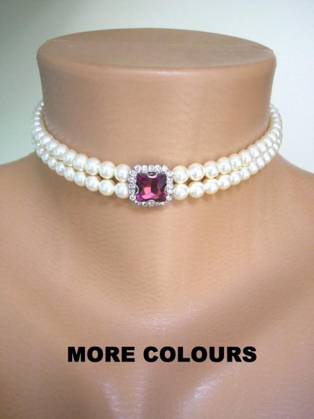 wedding photo - 2 Strand Pearl Choker, MORE COLOURS, Swarovski Pearls, Bridal Choker, Art Deco Style, Wedding Jewelry, Prom, Bridal Necklace, Gatsby