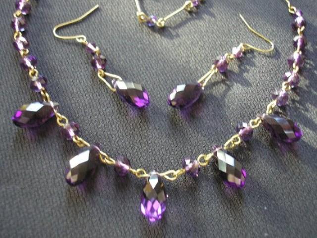 wedding photo - Art Deco Crystal Jewelry Set, Amethyst Choker, Art Deco Demi Parure, Purple Crystal Jewelry Set, Vintage Bridal, Deco Wedding, Downton Abbey