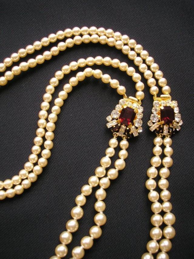 wedding photo - Backdrop Necklace Wedding, Ruby Red, Bridal Necklace, Art Deco, Gatsby, Downton, Pearl Necklace, Backlace, Back Necklace, Bridal Jewelry