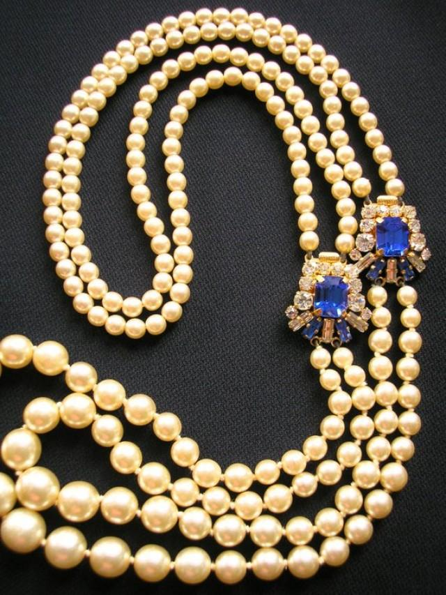 wedding photo - Cobalt Bridal Necklace, Backdrop Necklace, Deco, Great Gatsby Jewelry, Downton Abbey, Pearl Necklace, Bridal Accessories, Sapphire Necklace