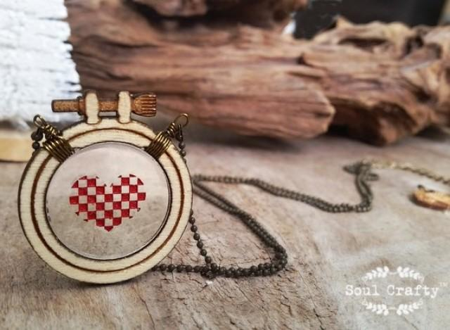 wedding photo - Cross Stitch Red Heart Wooden Necklace Birthday Valentine Mother's day Wedding BFF Best friend gift