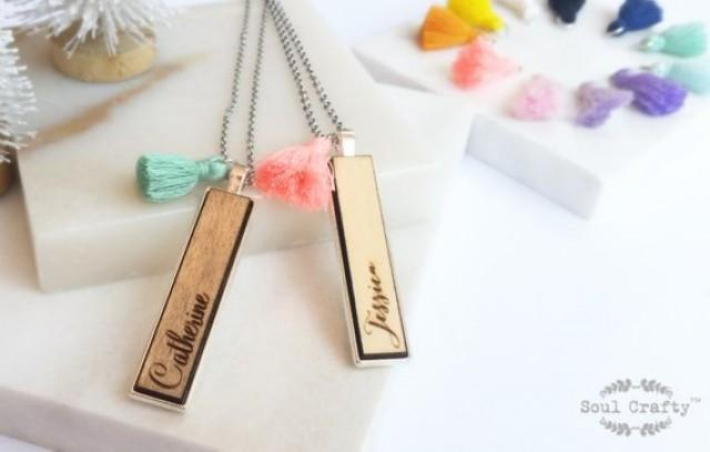 wedding photo - Personalized Name wooden Silver necklace stainless steel chain Silver pendant with tassel for Birthday Valentine Wedding BFF Bridesmaid gift