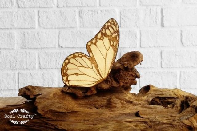 wedding photo - Monarch Butterfly hair clips Bridesmaid Best friend Valentine Wedding gift Rustic wedding Laser Wood feather