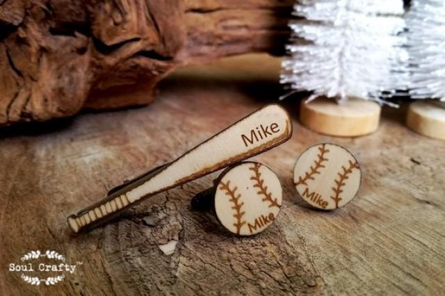 wedding photo - Baseball bat tie clip baseball Cufflinks Dad Grooms Best man Groomsman Rustic Wedding Birthday Sportsman Gift Personalized Cuff links