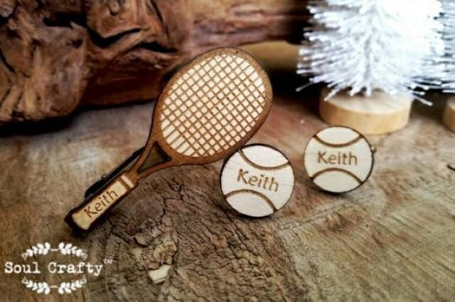 wedding photo - Tennis racket tie clip tennis ball Cufflinks racquet Dad Grooms Best man Groomsman Rustic Wedding Birthday Gift Personalized Cuff links