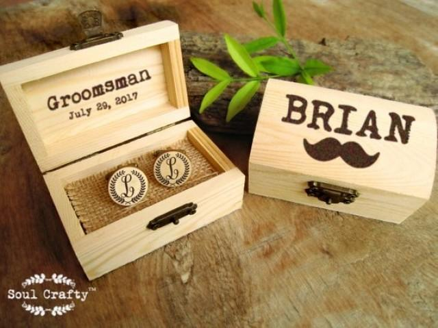 wedding photo - Laurel wreath Initial Wooden Cufflinks Engraved Customized box Dad Grooms Groomsman Personalized Rustic Wedding Birthday Gift Cuff links