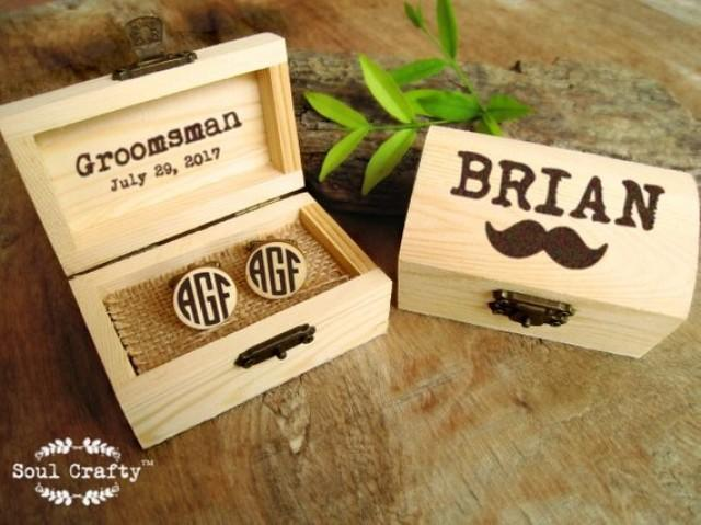 wedding photo - Block Monogram Wooden Cufflinks Engraved Customized box Dad Grooms Groomsman Gift Set Personalized Rustic Wedding Birthday Gift Cuff links