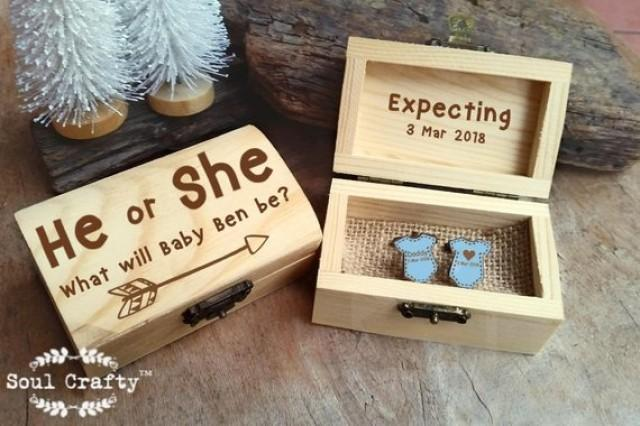 wedding photo - Gender Reveal Wooden Cufflinks Engraved Customized box Baby He or she Personalized Rustic Dad Daddy to be Party Gift Cuff links