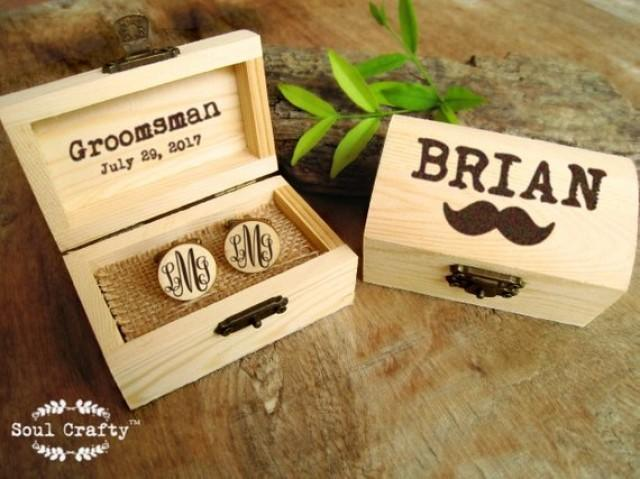 wedding photo - Curly monogram Wooden Cufflinks Engraved Customized box Dad Grooms Groomsman Gift Set Personalized Rustic Wedding Birthday Gift Cuff links