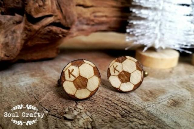 wedding photo - Personalized football Wooden Cufflinks World Cup soccer Woodland Dad Grooms Best man Groomsman Rustic Wedding Birthday Gift Cuff links