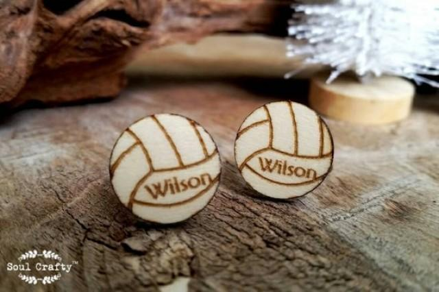 wedding photo - Personalized volleyball Cufflinks sports Woodland Dad Grooms Best man Groomsman Rustic Wedding Birthday Gift Cuff links