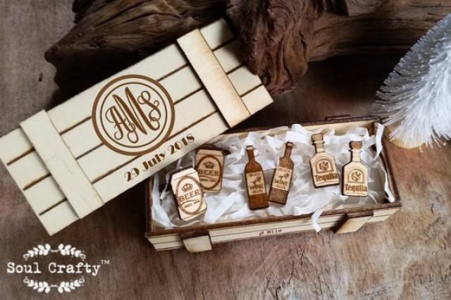 wedding photo - 3 pair Wooden Cufflinks with Personalized box Beer Wine Brandy Champagne Cognac Rum Gin Stout Whiskey father Groomsman Wedding Birthday Gift