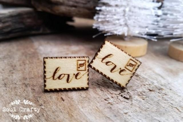 wedding photo - Love letter Wooden Cufflinks Boy friend Valentine Dad Grooms Best man Groomsman Rustic Wedding Birthday Gift Cuff links