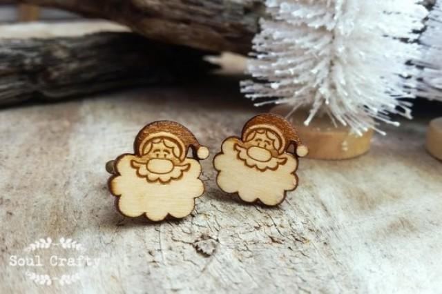 wedding photo - Santa Claus Wooden Cufflinks Christmas Festive Celebration Dad Grooms Best man Groomsman Rustic Wedding Birthday Gift Cuff links
