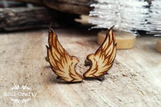wedding photo - Wings Wooden Cufflinks feather animal Boy friend Dad Grooms Best man Groomsman Rustic Wedding Birthday Gift Cuff links