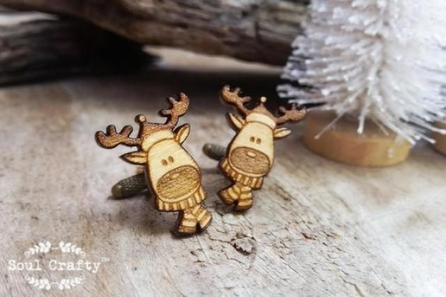 wedding photo - Reindeer Wooden Cufflinks Rudolph Scarf Christmas Festive Celebration Dad Grooms Best man Groomsman Rustic Wedding Birthday Gift Cuff links