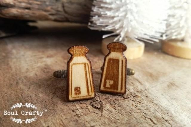 wedding photo - Salt Pepper Shaker Wooden Cufflinks Seasoning Herbs Dad Grooms Best man Groomsman Rustic Wedding Birthday Gift Cuff links