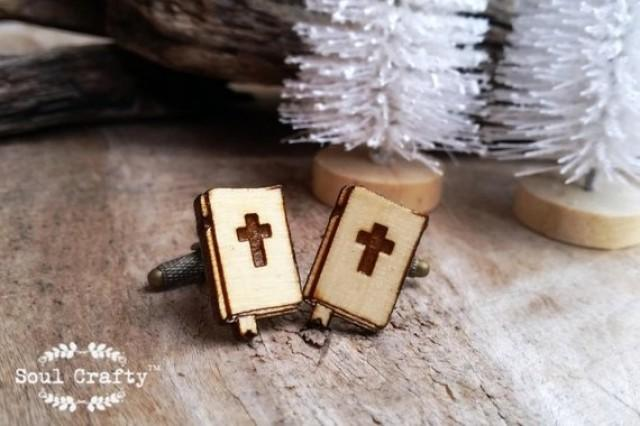 wedding photo - Holy Bible Wooden Cufflinks Christian Dad Grooms Best man Groomsman Rustic Wedding Baptism Birthday Gift Cuff links