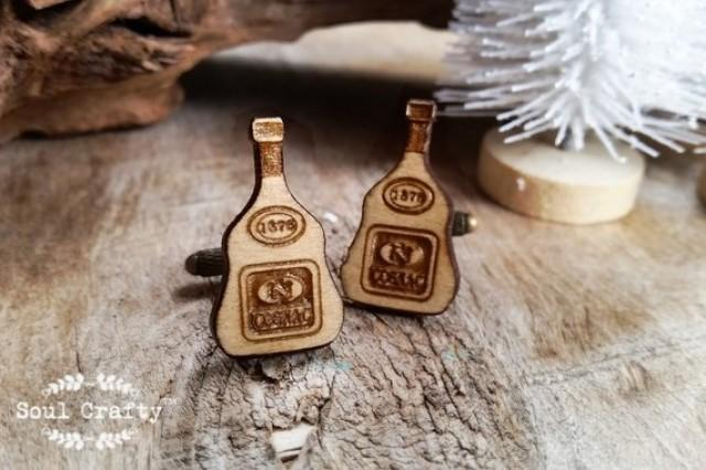 wedding photo - Cognac bottle Wooden Cufflinks hard liquor Dad father's day Grooms Best man Groomsman Rustic Wedding Birthday Gift Cuff links