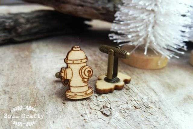 wedding photo - Fire Hydrant Wooden Cufflinks Fireman fire brigade flame Dad Grooms Best man Groomsman Rustic Wedding Birthday Gift Cuff links