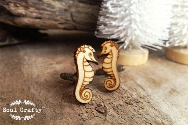 wedding photo - Seahorse Wooden Cufflinks Sea horse Sea dragon animal creature Dad Grooms Best man Groomsman Rustic Wedding Birthday Gift Cuff links