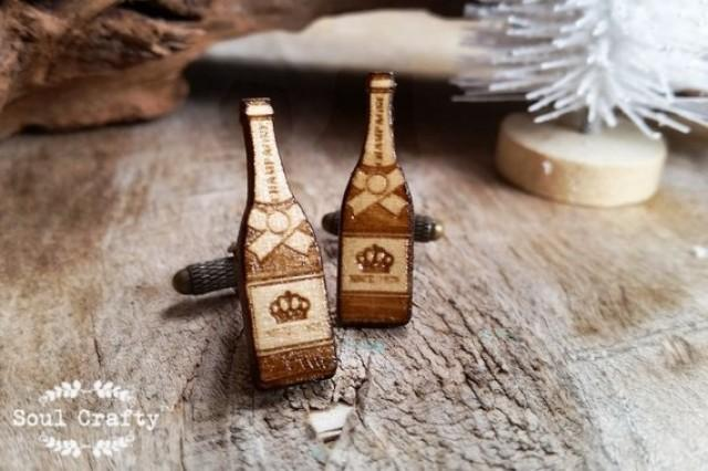 wedding photo - Champagne bottle Wooden Cufflinks Alcohol Sparkling Wine Dad father's day Grooms Best man Groomsman Rustic Wedding Birthday Gift Cuff links