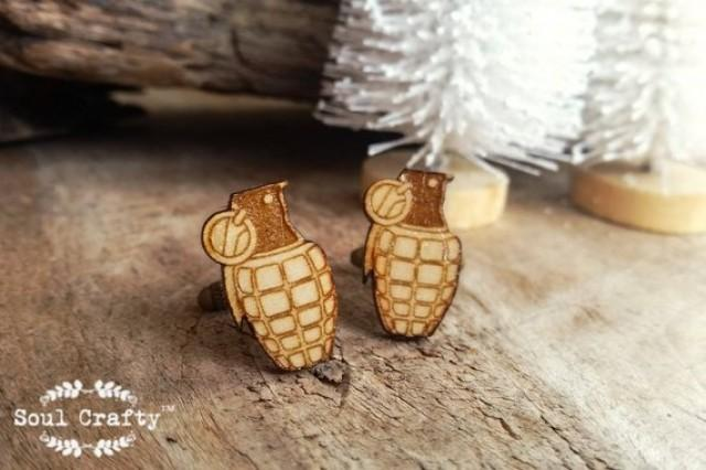 wedding photo - Grenade Wooden Cufflinks Army Bomb Thermite napalm Dad Grooms Best man Groomsman Rustic Wedding Birthday Gift Cuff links