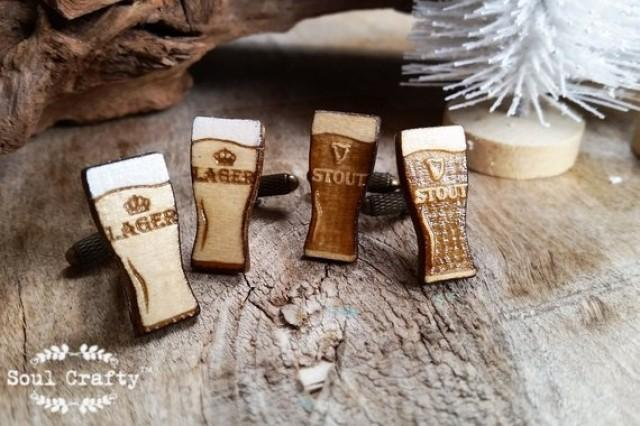 wedding photo - Lager Stout Wooden Cufflinks Beer Alcohol liquor Dad father's day Grooms Best man Groomsman Rustic Wedding Birthday Gift Cuff links