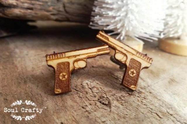 wedding photo - Hand Gun Wooden Cufflinks Army Police Handgun 45 acp Dad Grooms Best man Groomsman Rustic Wedding Birthday Gift Cuff links