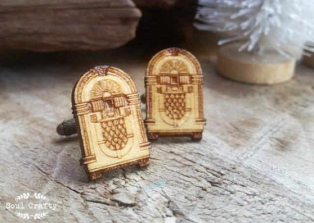 wedding photo - Jukebox Wooden Cufflinks Music box Cuff links Dad Grooms Best man Groomsman Rustic Wedding Birthday Gift
