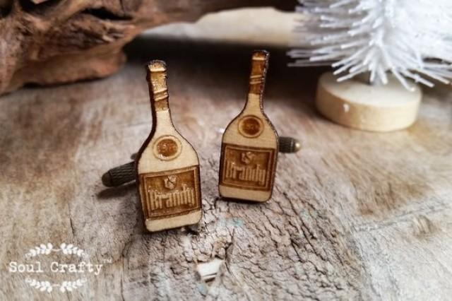 wedding photo - Brandy bottle Wooden Cufflinks hard liquor Dad father's day Grooms Best man Groomsman Rustic Wedding Birthday Gift Cuff links