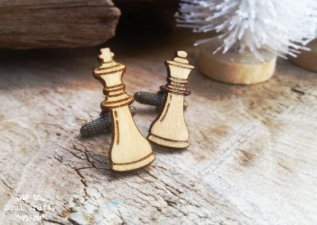 wedding photo - King Queen Chess Wooden Cufflinks Chess pieces board game knight bishop Chess Player Cuff links
