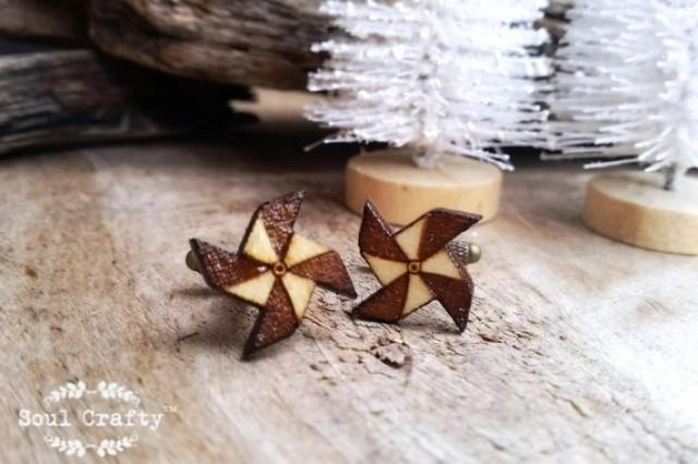 wedding photo - Paper windmill Wooden Cufflinks handheld origami windmill Boy friend Dad Grooms Best man Groomsman Rustic Wedding Birthday Gift Cuff links