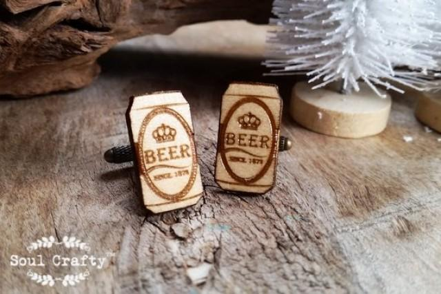 wedding photo - Beer Can Wooden Cufflinks Alcohol Lager Dad father's day Grooms Best man Groomsman Rustic Wedding Birthday Gift Cuff links