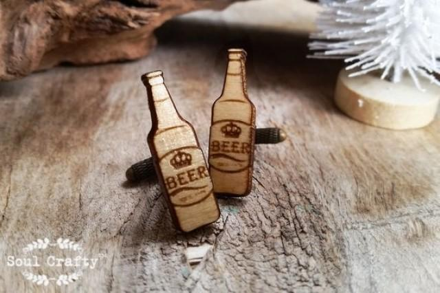 wedding photo - Beer bottle Wooden Cufflinks Lager Dad father's day Grooms Best man Groomsman Rustic Wedding Birthday Gift Cuff links