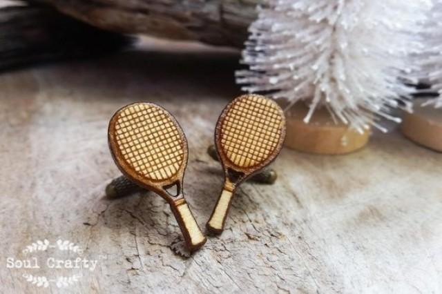 wedding photo - Tennis Racquet Wooden Cufflinks Tennis Racket Sports Ball Dad Grooms Best man Groomsman Rustic Wedding Birthday Gift Cuff links
