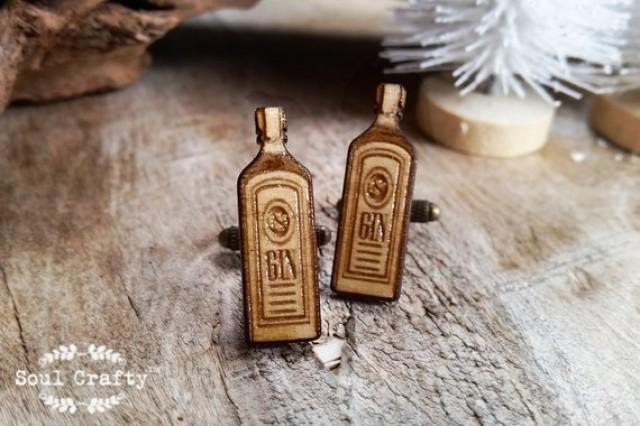 wedding photo - Gin Wooden Cufflinks Alcohol liquor Dad father's day Grooms Best man Groomsman Rustic Wedding Birthday Gift Cuff links