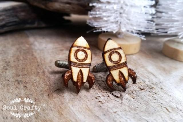 wedding photo - Rocket Wooden Cufflinks Space ship missile projectile Boy friend Dad Grooms Best man Groomsman Rustic Wedding Birthday Gift Cuff links