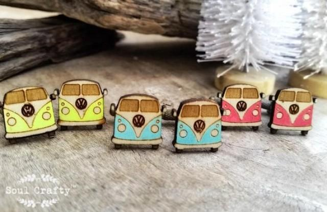 wedding photo - Camper Van Wooden Cufflinks wagen Dad Grooms Best man Groomsman Rustic Wedding Birthday Gift Cuff links
